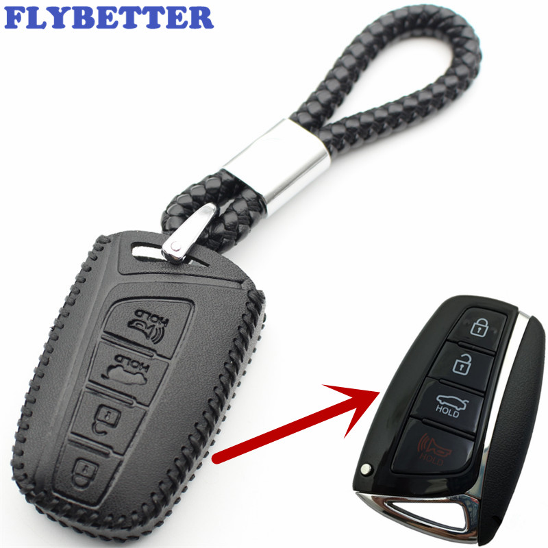 FLYBETTER Genuine Leather 4Button Keyless Entry Smart Key Case Cover For Hyundai SantaFe/Equus/Azera/Genesis L110FLYBETTER Genuine Leather 4Button Keyless Entry Smart Key Case Cover For Hyundai SantaFe/Equus/Azera/Genesis L110