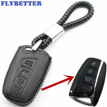 FLYBETTER Genuine Leather 4Button Keyless Entry Smart Key Case Cover