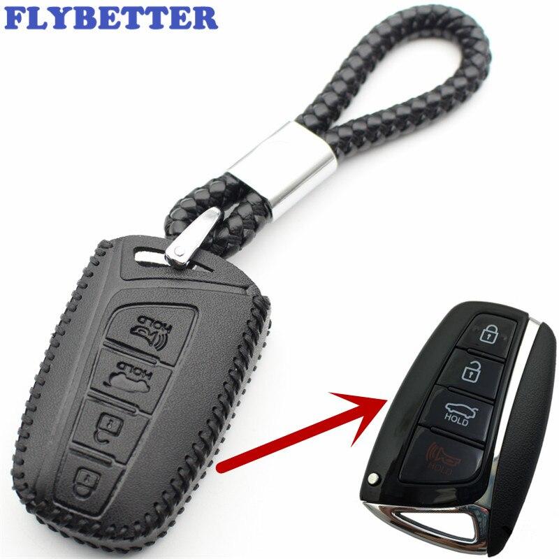 FLYBETTER Véritable En Cuir 4 Bouton D'entrée Sans Clé Smart Cover Case Clés Pour Hyundai SantaFe/Equus/Azera/Genesis l110