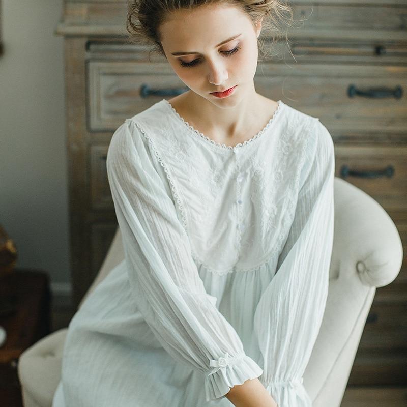 2017 Lace Princess Sweet Vintage Nightgown Pregnant Women Princess Sleepwear Spring Summer Lounge Sleepwear Pijama Gecelik