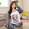 2016 Casual Mulheres Pijamas Pijamas Set Carta de Amor Pattrern O-pescoço de Manga Comprida Pijamas Mujer Femme Sleepwear Nightwear Terno M ~ XL