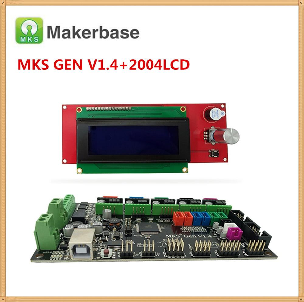 MKS GEN V1.4 carte mère + LCD2004 panneau 2004 LCD affichage bricolage kit débutant rampes 1.4 carte mega2560 carte mère reprap kits Kossel
