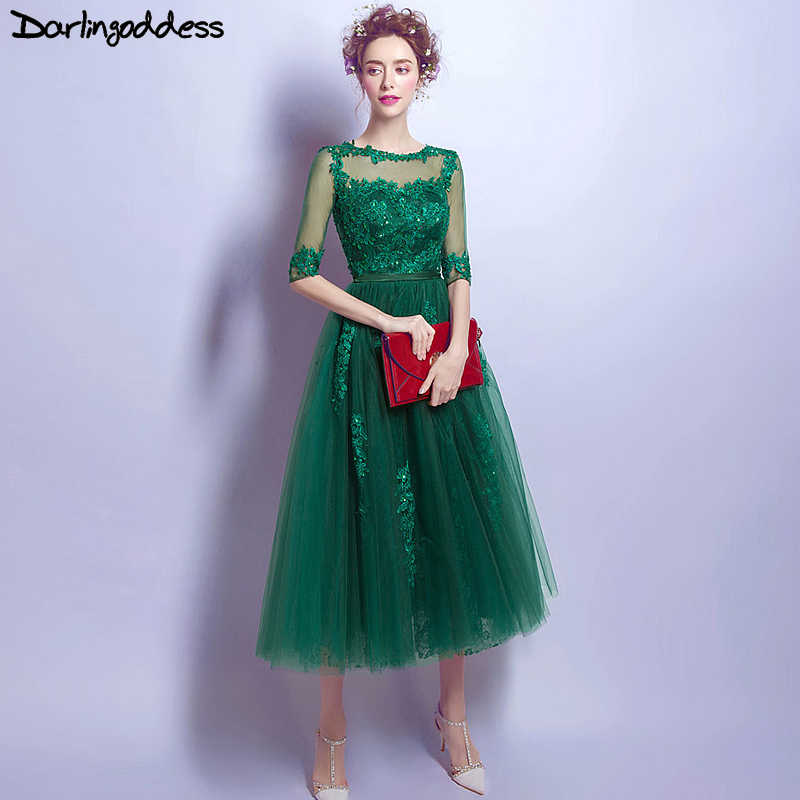 ... Real Photos Vintage Elie Saab Evening Dress Tea Length Half Sleeves  2017 Elegant Woman Dark Green ... 4dd0c2ea5fd7