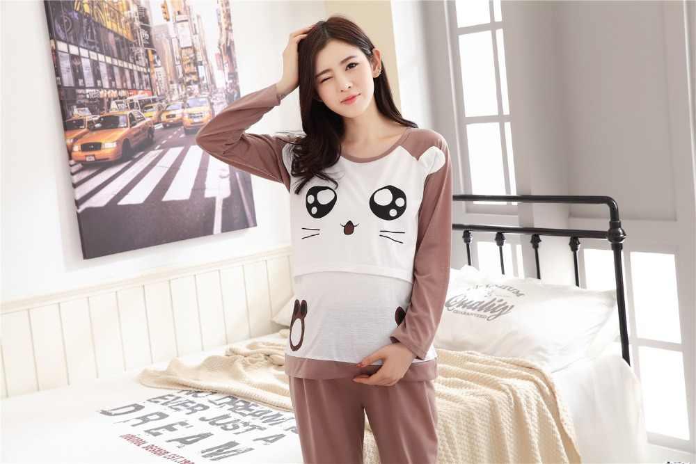 44486b00955 ... Autumn spring maternity log sleeve pajamas set cartoon pattern lounge  breastfeeding nightclothes nursing sleepwear suits ...