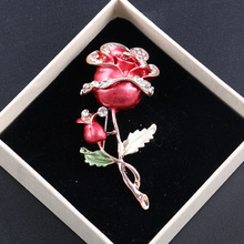 New Fashion Red/Blue Wedding Bridal Accessories Jewelry Women Elegant Rhinestone Rose Flower Brooch Pin