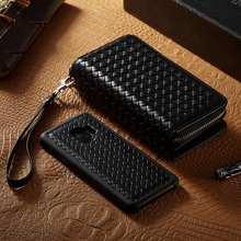 Örgü deri fermuar cüzdan kılıf için Samsung Galaxy S9 artı boyunluklar çanta kılıfı ayrılabilir kapak kapak kılıf için Samsung S...