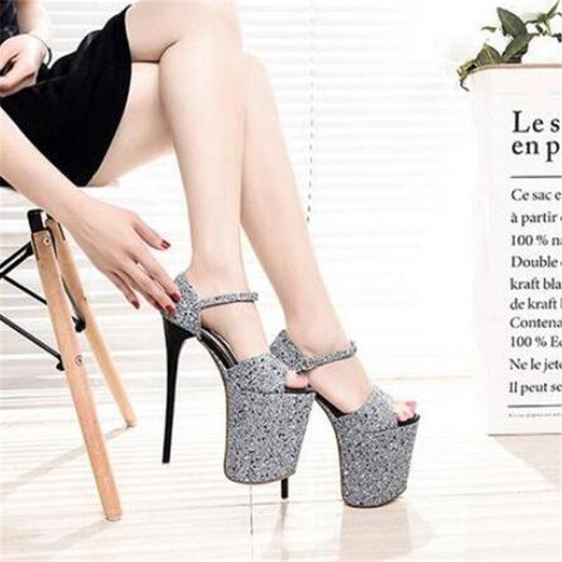 Cd Glitter Zapatos Plus Sapato Stiletto Chaussures Cm Dames Pompes 42 34 Hauts Sandales Paillettes À 20 41 Noir Femme Femelle bleu 43 Boucle Talons vv1Pwr8q5