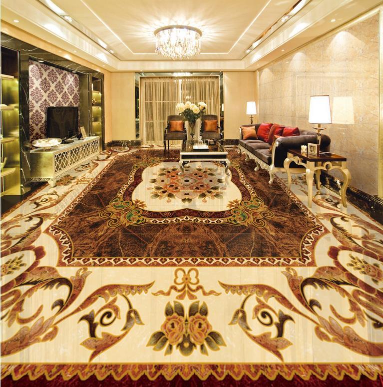 3d floor painting wallpaper European style stone parquet flooring pvc self-adhesive wallpaper 3d flooring