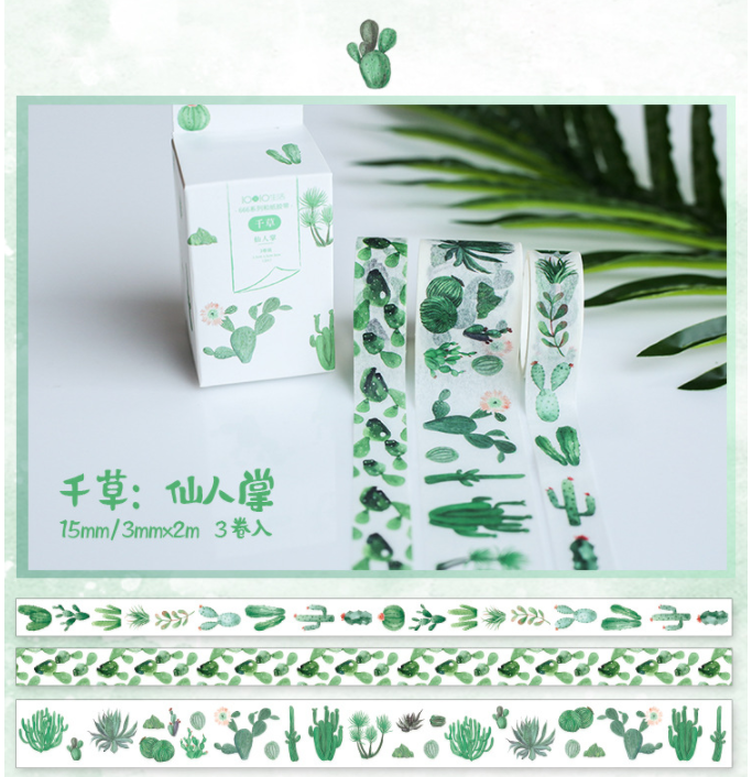 3 Pcs/pack Green Cactus Decorative Washi Tape Set Japanese Paper Stickers Scrapbooking Adhesive Washitape Stationary