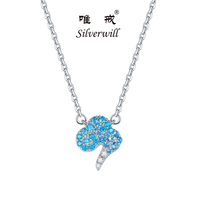 Sterling Silver 925 necklace women auspicious clouds design Chinese elements blue and white gems lucky gifts bling jewelry