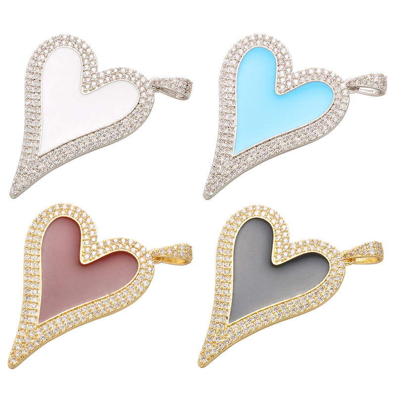 ZHUKOU 30x40mm Charming Heart pendant for women earrings necklace making accessories Findings model:VD465