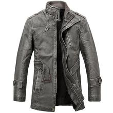PU Leather Jacket men's long wool leather Standing Collar Jackets Coat outwear Trench parka mens leather jackets and coats