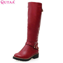 QUTAA 2017 Fashion Women Boot Med Calf  New Fashion Round Toe Woman Winter Shoes size 34-43