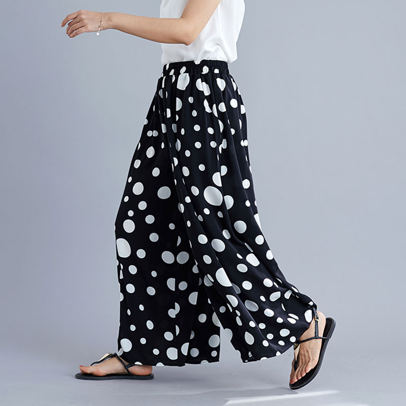F&je Korea Fashion Summer Women High Waist   Wide     Leg     Pants   Dot Print Sense of fall Loose Casual   Pants   Large Female Trousers X539