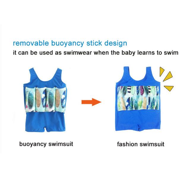 Functional Children's Swimwear One-piece Buoyancy Swimsuit+Cap Removable Stick Design Infant Boys Girls Water Sport Clothing