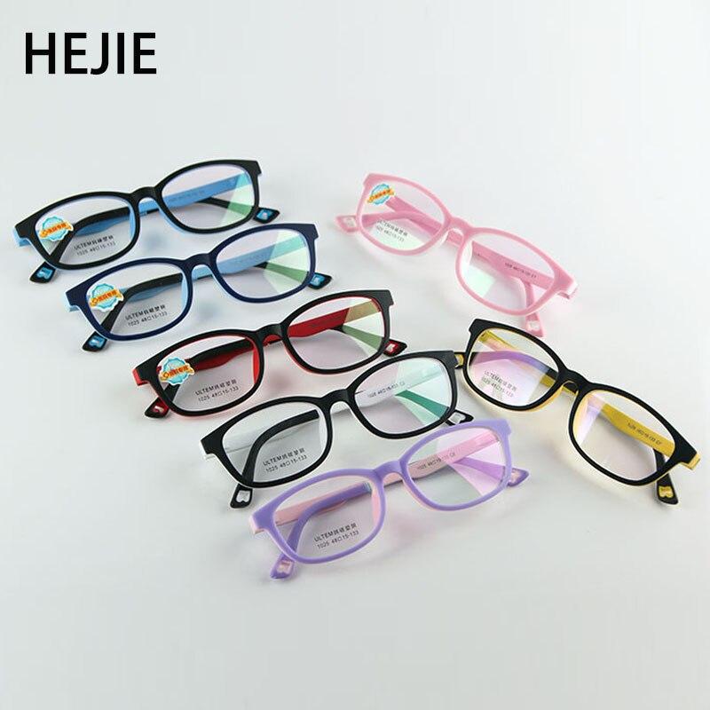 bc58c2b96c HEJIE niños óptica ULTEM marcos de gafas elástico templo de la llanta para  niñas niños tamaño
