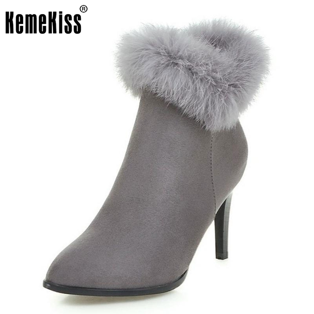 Women Elegant Dress Party Shoes Thin High Heels Botas Women Fur Ankle Boots  Pointed Toe Less