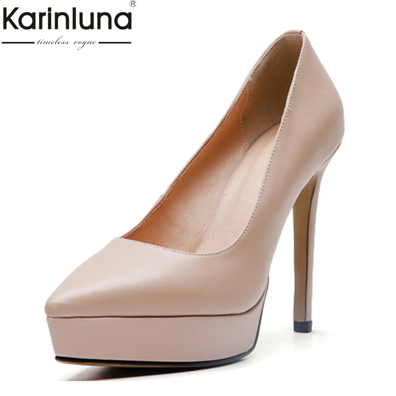Classic Genuine Leather Sexy Thin Heeled Platform Party Wedding Pumps Women Shoes Elegant Slip On high
