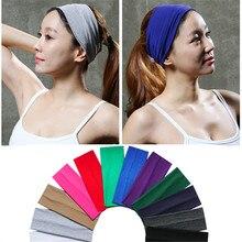 3 дюймовая однотонная хлопковая эластичная повязка для йоги для спорта и софтбола, эластичная повязка для волос, повязка на голову, резинка для волос, тюрбан