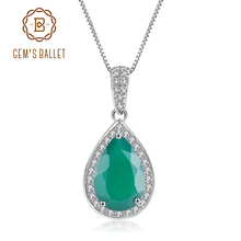 GEMS BALLET Water Drop Natural Green Agate Gemstone 925 Sterling Silver Vintage Pendant Necklace for Women Fine Jewelry