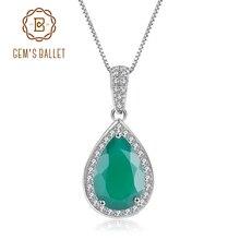 GEMS bale su damlası doğal yeşil akik taş 925 ayar gümüş Vintage kolye kolye kadınlar için güzel takı