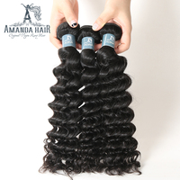 Deep Wave Brazilian Hair Human Hair Bundles 10 30 100% Virgin Brazilian Hair Weave Bundles Natural Color Can be Dyed