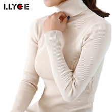 LLYGE 20 colors Turtleneck Sweater For Women Ladies Solid Slim Elastic Sweaters And Puloovers Autumn Winter Women's Pullover