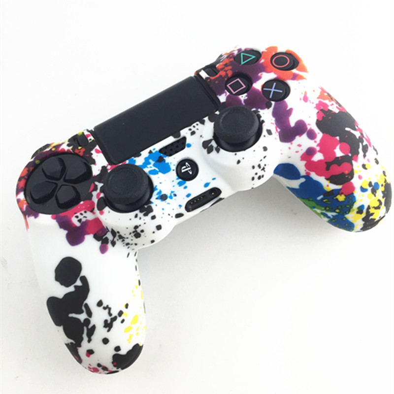 Купить с кэшбэком 10PCS Silicone Guards Soft sleeve Skin Grip Cover Case Protector For Playstation 4 PS4 Controller PS4 Pro Slim Camouflage Camo