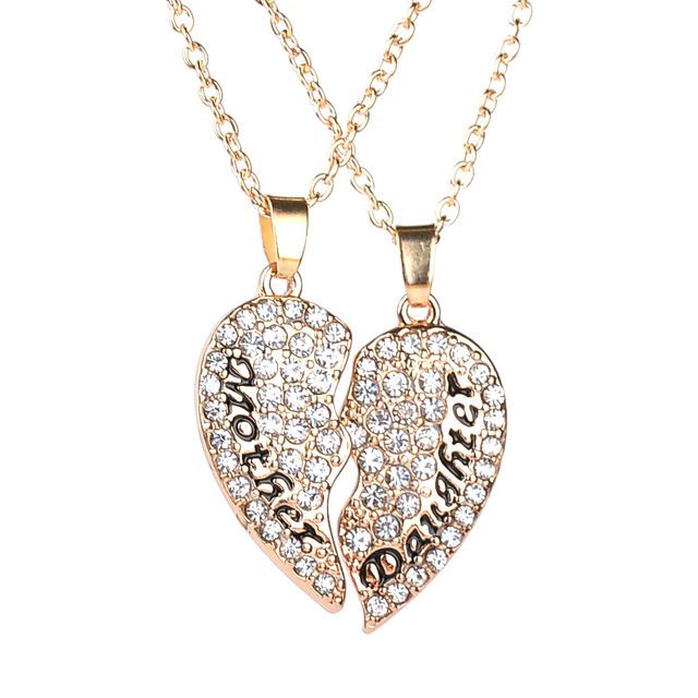 Mother Daughter Necklace Crystal Heart Shaped 2 pcs/set Heart Pendant  Necklace Mothers Day Chrismas