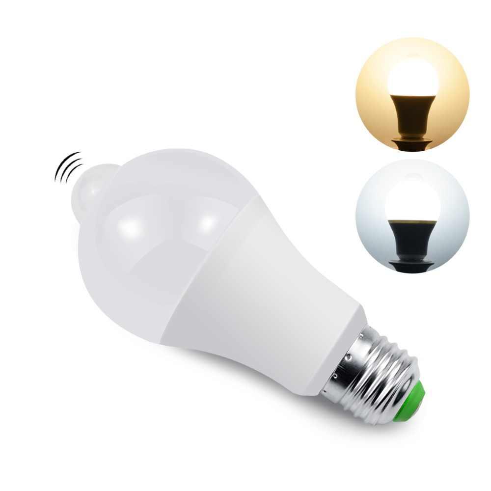 220 V 5 Вт, 7 Вт, 9 Вт, 12 Вт, 18 Вт движения PIR Сенсор свет E27 детектор движения светодиодный лампа лестницы освещение прохода коридора коридор ночного освещения