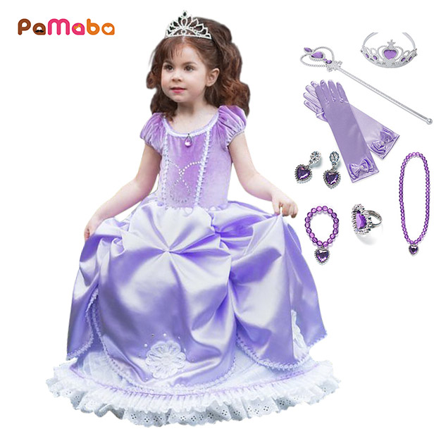 PaMaBa Fancy Kids Princess Sofia Clothes Dresses Girls Sofia the First  Cosplay Costume Puffy Sleeve Children Birthday Party Gown 7b6e40b132b1