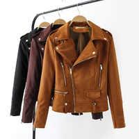 7b3bc7bcbd4 Для женщин замшевые кожаные куртки Размеры s m l xl 2019 новые весенние  Короткая кожаная куртка стиль мода