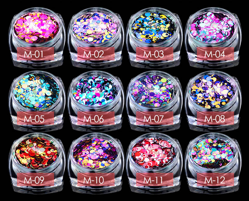 New Nail Art Decorations Laser Shining Sequins 12 Style Colorful Rhinestones Sparking Round Beads Nail Beauty Manicure Tool Gift