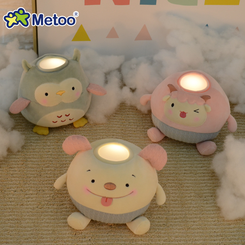 Metoo Owl Sheep Dog Pat Light Plush Toys Warm White LED Night Light Bedside Lamp Baby Child Gift Toy Kawaii Stuffed Animal Doll hot sale 50cm the last airbender resource appa avatar stuffed plush doll toy x mas gift kawaii plush toys unicorn