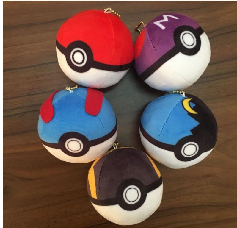 Pocket Monster Pokemon Go Poke Ball Plush Stuffed Toy Ring Chain pokeball keychain Pendant 8cm