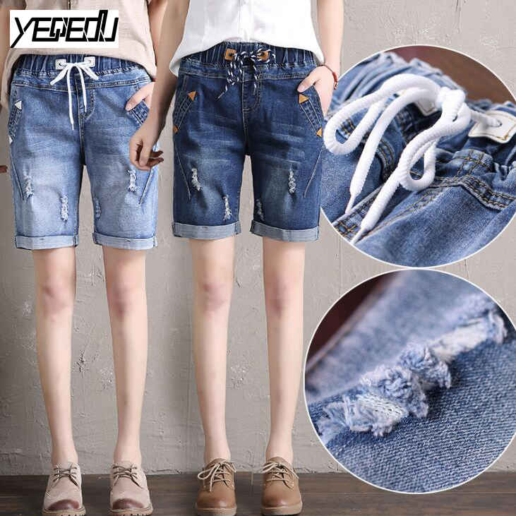 Alan women clothes #0621 2017 Summer short mujer Plus size shorts Elastic waist Vintage short jeans women High waist short jeans feminino Loose