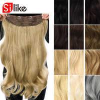 Silike 190g 24 pouces étiré pince ondulée dans les Extensions de cheveux synthétiques fibre résistante à la chaleur 4 Clips une pièce 17 couleurs disponibles