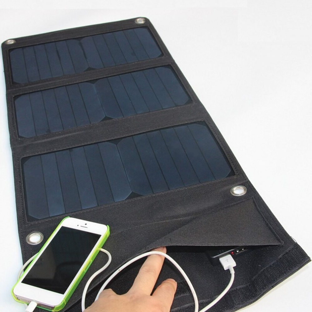 21W Foldable Solar Cells Charger Portable Backpack Sunpower Solar Panel Dual USB Port Charger For Mobile Phone MP3 Tablet 21w outdoor travel folding foldable solar panel battery charger camera mp3 mp4 mobile phone charger solar charge for iphone 8 7