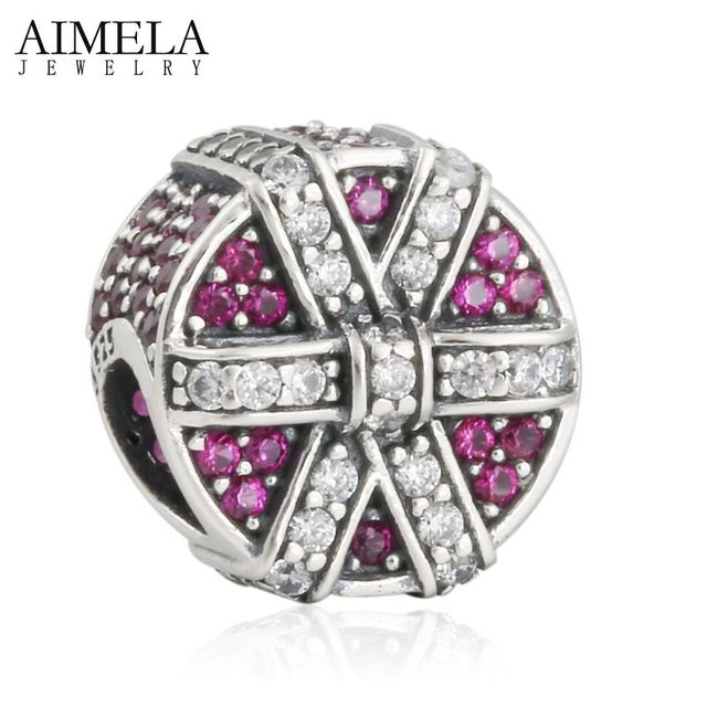 AIMELA Winter Christmas Shimmering Gift Box Charms Beads With Red & Clear Bow CZ Pave Xmas Bead For Bracelets DIY Jewelry Making