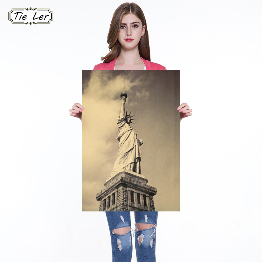 Vintage The Statue of Liberty Kraft Paper Wall Stickers Bar Retro Poster Decorative Painting 50.5x35cm