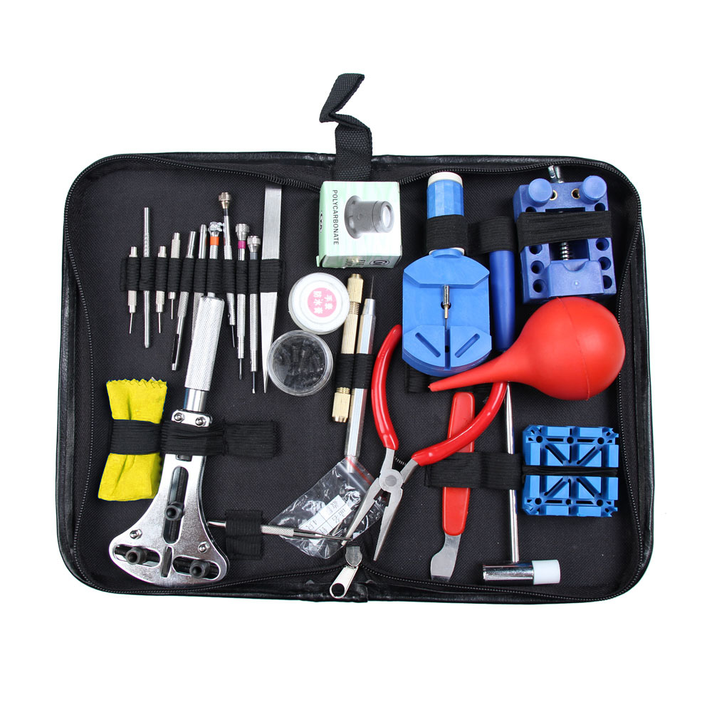 27pcs Watch Repair Tool Kit Set Watch Case Opener Link Spring Bar Remover Screwdriver Tweezer Watchmaker Dedicated Device high quality professional 20 pcs watch repair tool kit set with bag link pin remover case opener watch hand remover