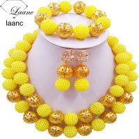 Laanc Fashion Simulated Pearl Yellow Nigerian Wedding African Beads Jewelry Set 2CSZ010