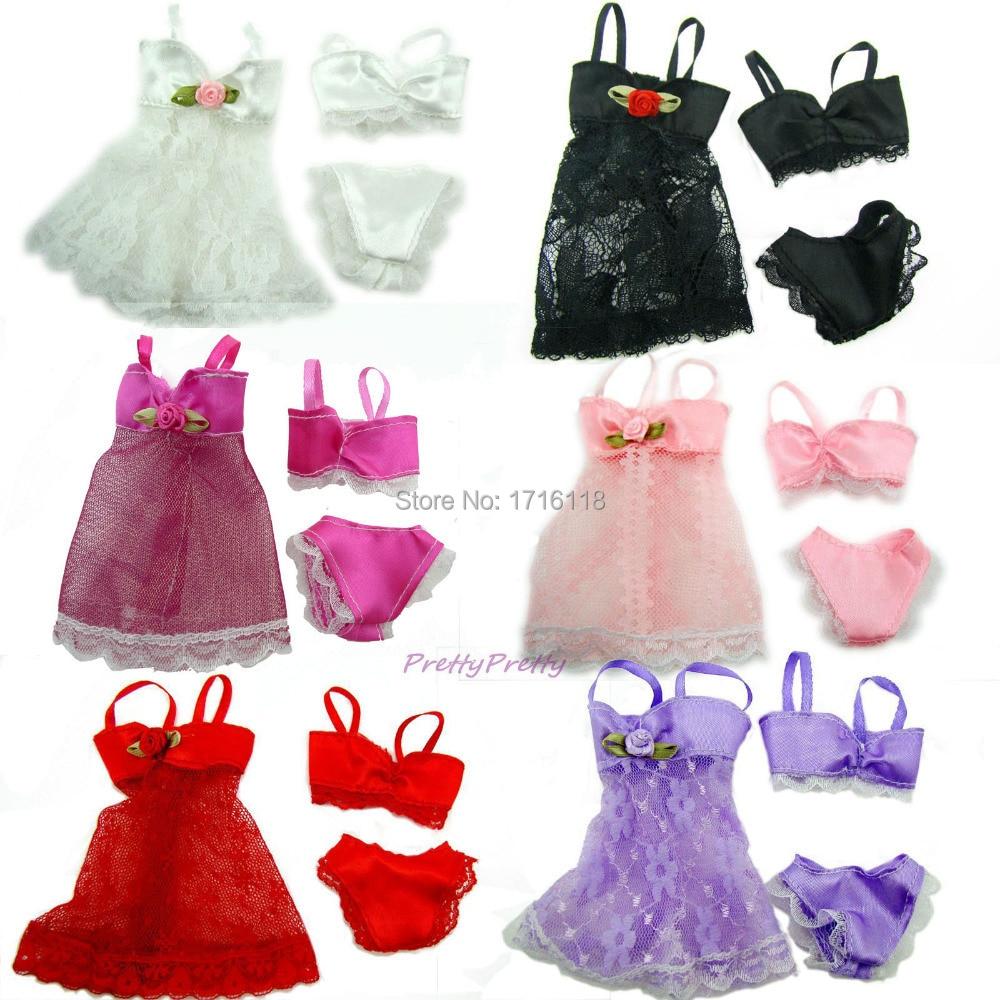6 sets kleurrijke sexy pyjama lingerie nachtkleding kant nachtjurk + beha + ondergoed kleding voor barbie doll skirt kleding