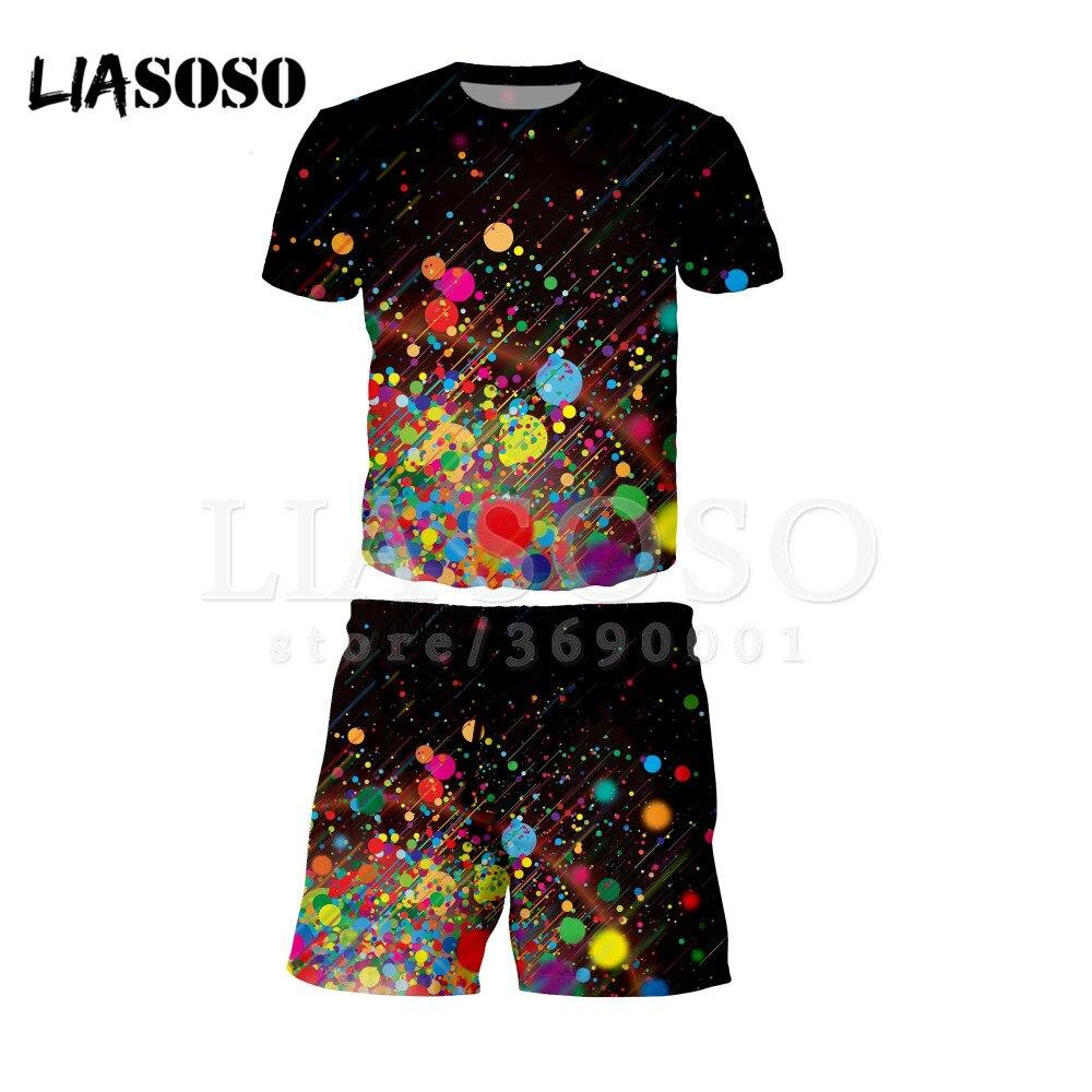 LIASOSO 3d Print New Man Women Colorful Star Point T-shirt Short Pants Sets Fashion Beach Casual Shorts Fit Tshirt Shorts X0499