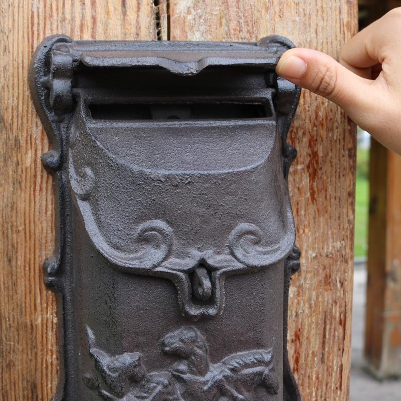 Black Cast Aluminium Horse Man Letter Wall Post Box