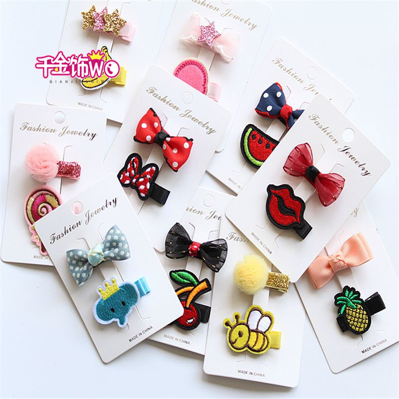 2pcs/lot Cute cartoon zoology Kids Hairpins Barrettes Children Hair Accessories Girls Hair Clips fashion  wholesale CT-35 2 pcs 2017 new korean striped bowknot cute baby clip girls hairpins cartoon kitten hair clips kids children accessories