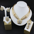 African bead jewelry women's luxury wedding dress set gold plated necklace earrings ring party dress accessories wholesale 16