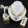 Jóia do grânulo africano conjunto banhado a ouro das mulheres do vestido de casamento de luxo colar brincos anel acessórios vestido de festa por atacado 16
