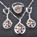 FAHOYO Pretty Multicolor Zirconia Women's 925 Sterling Silver Jewelry Sets Earrings/Pendant/Necklace/Rings Free Shipping QZ068