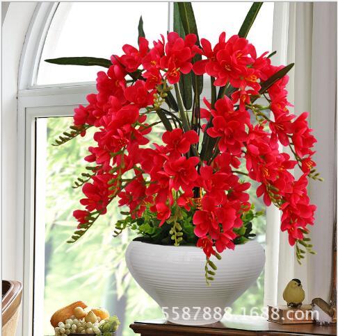 Papillon orchidée bonsaï simulation fleur fleurs artificielles ensemble salon table thé table avec tissu de soie décoration intérieure